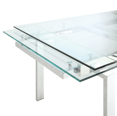 Wexford Glass Top Dining Table With Extension Leaves Chrome