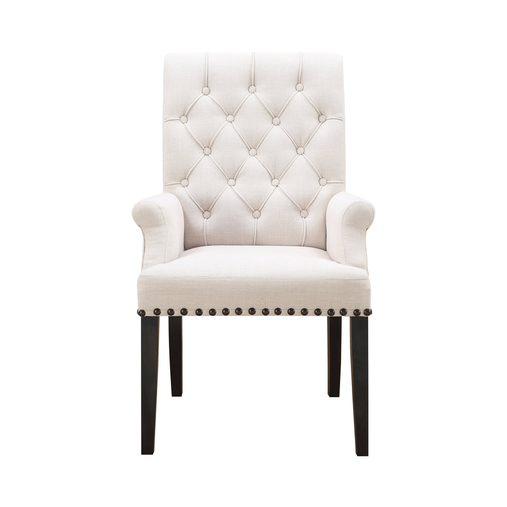 Phelps Upholstered Arm Chair Beige And Smokey Black
