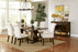 Parkins Double Pedestals Dining Table Rustic Espresso w 6 chairs