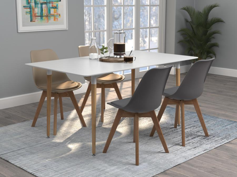 GRAY DINING CHAIR WOODEN LEGS