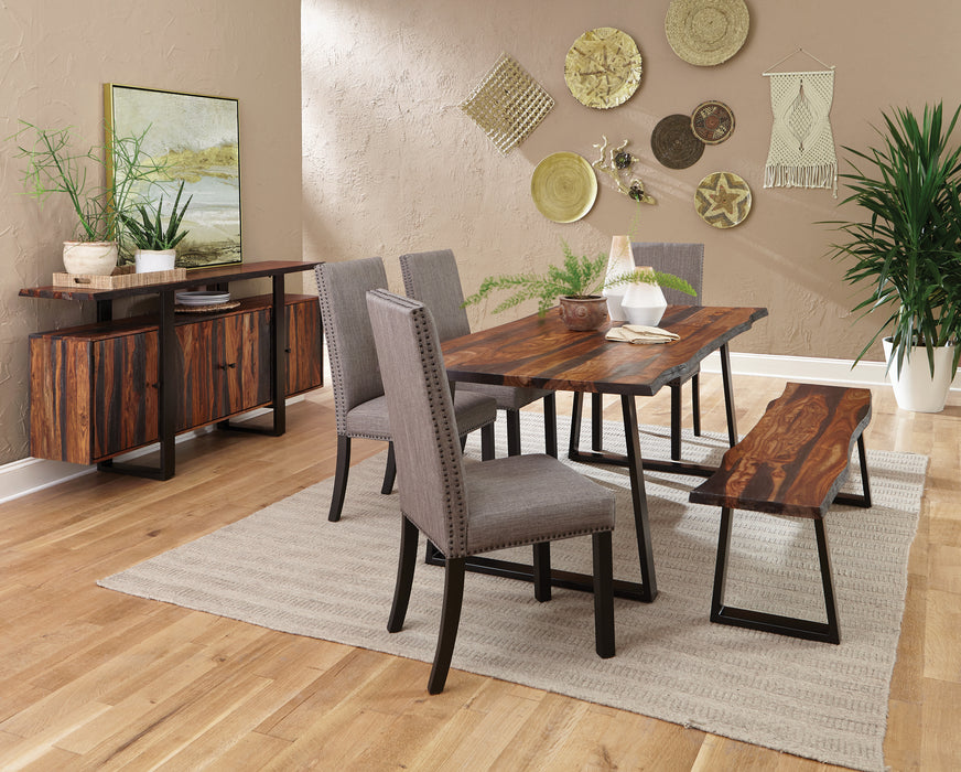 Ditman Live Edge Dining Table Grey Sheessam And Black