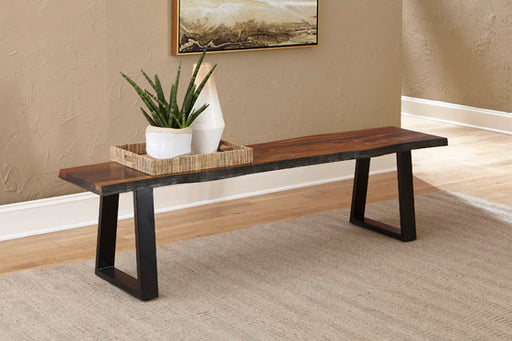 Ditman Live Edge Dining Bench Grey Sheessam And Black