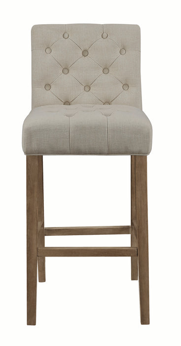 Tufted Upholstered Bar Stools Driftwood And Beige (Set Of 2)
