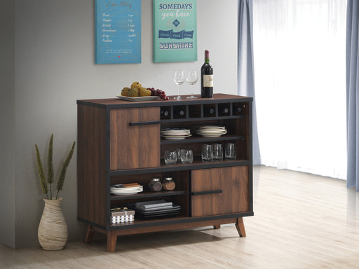 Wine Cabinet With 2 Sliding Doors Walnut And Black