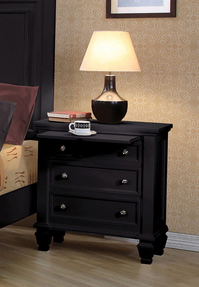 CoasterEssence Sandy Beach 3-Drawer Nightstand Black