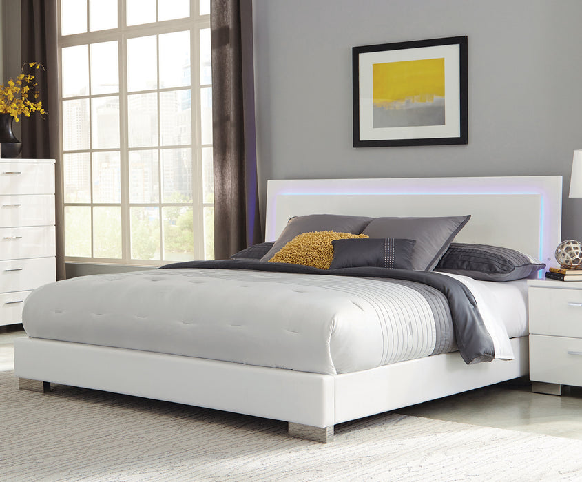 Felicity Queen Panel Bed With LED Lighting Glossy White