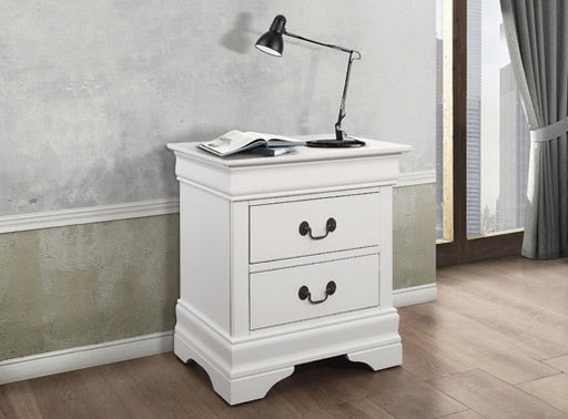 Louis Philippe 2-Drawer Nightstand White
