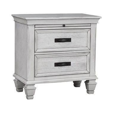 Franco 2-Drawer Nightstand Antique White