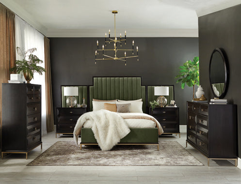 Formosa Eastern King Upholstered Bed Dark Moss