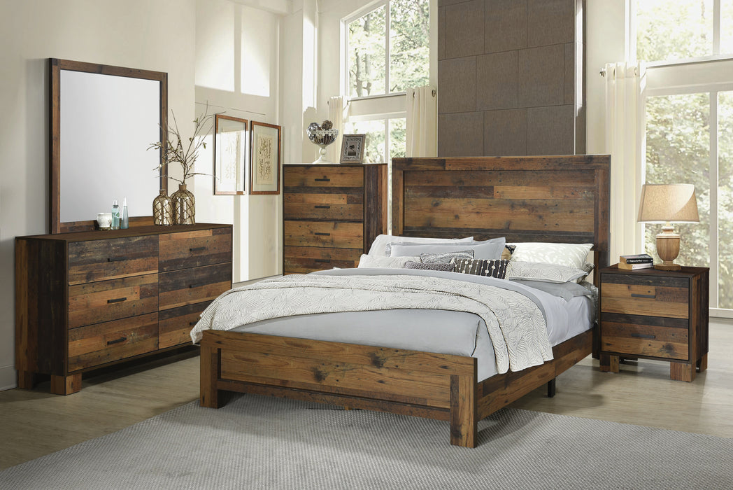 Sidney Queen Panel Bed Rustic Pine