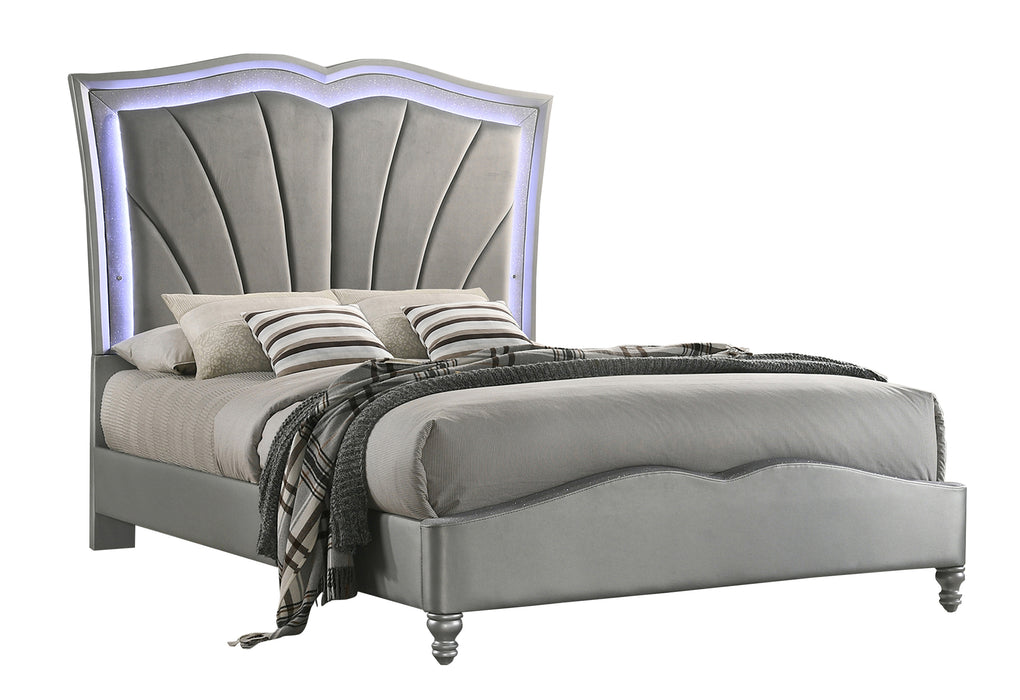 Bowfield Queen Upholstered Bed With LED Lighting Grey