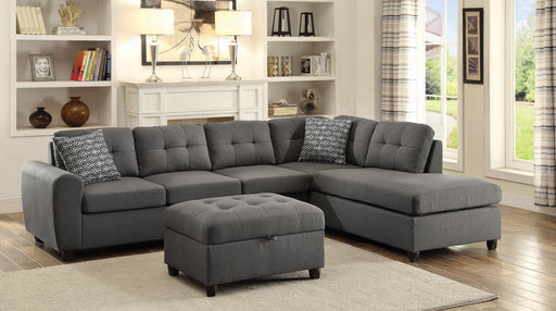 Stonenesse Tufted Sectional Grey W/Ottoman