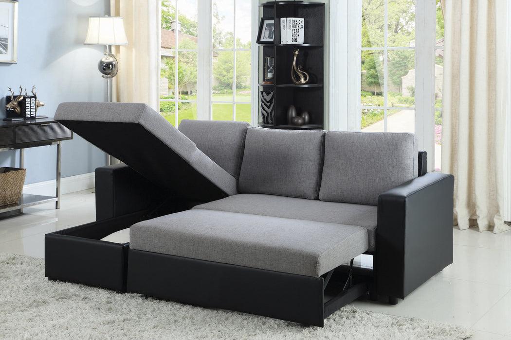 Everly Reversible Sleeper Sectional Grey And Black
