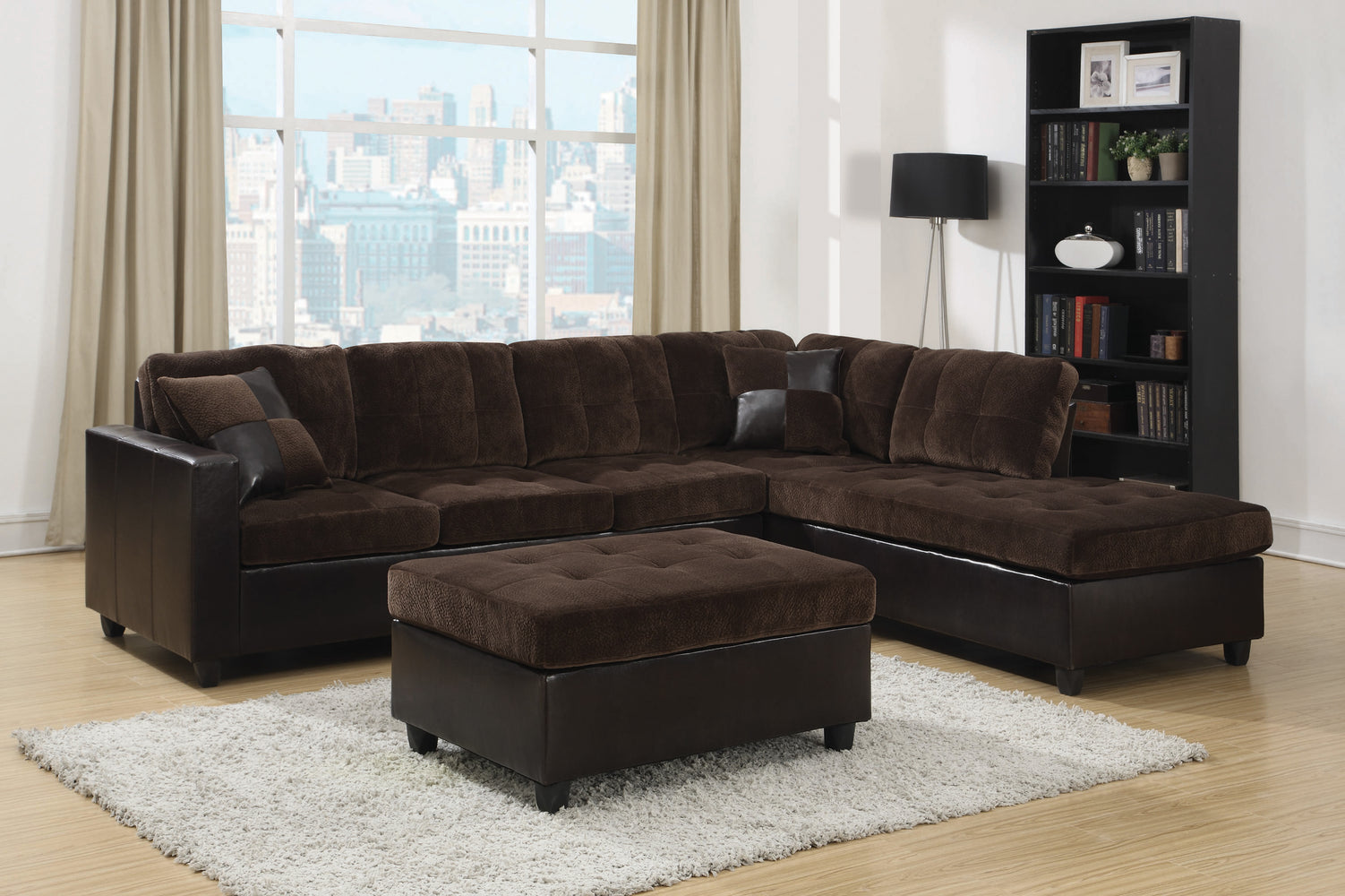 Mallory Tufted Upholstered Sectional Dark Chocolate