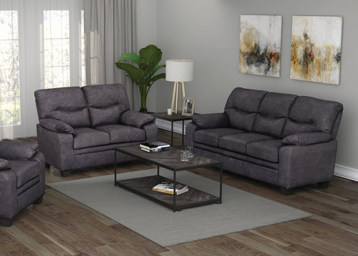 Meagan Pillow Top Arms Upholstered Sofa Charcoal