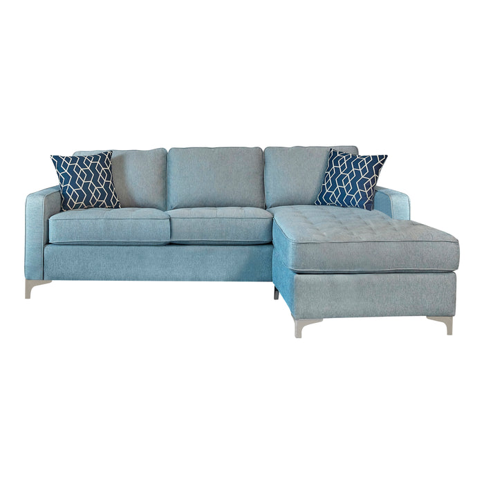 Nashua 2-Piece Reversible Sectional With Storage Ottoman French Blue
