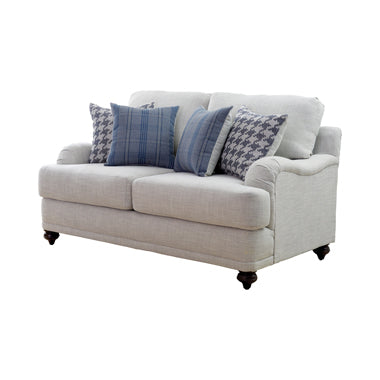 Gwen Recessed Arms Loveseat Light Grey