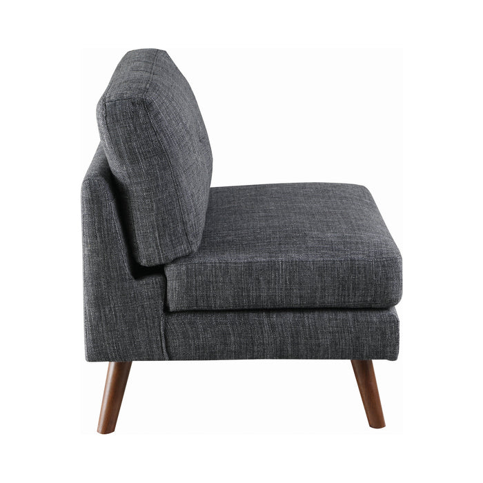 Churchill Tufted Cushion Back Armless Chair Dark Grey And Walnut