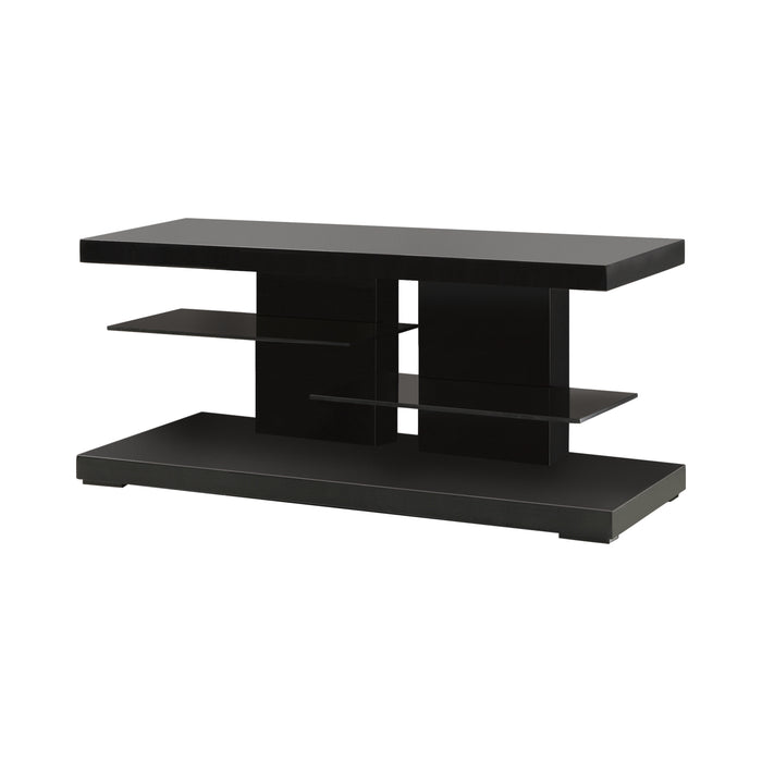 TV Console Glossy Black-2-Shelf