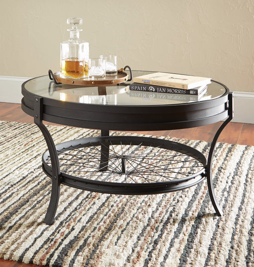 Round Glass Top Coffee Table Black