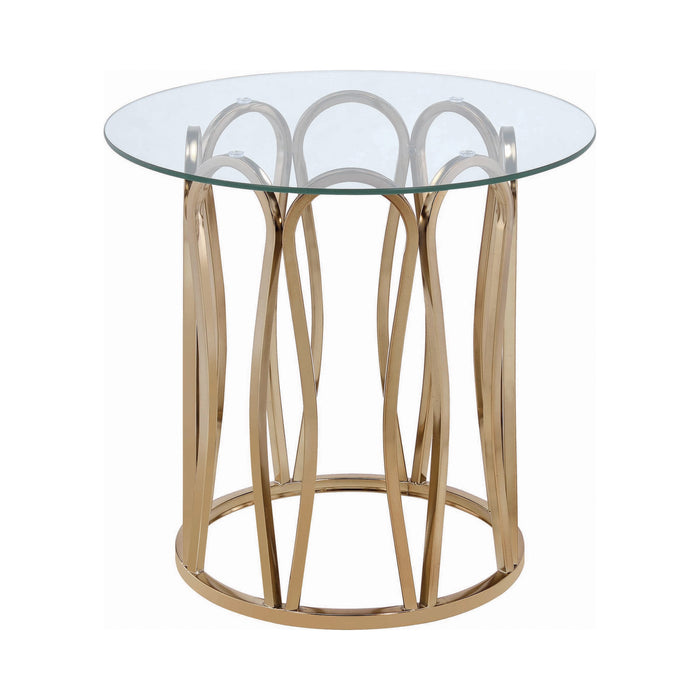 Hemet Round End Table Chocolate Chrome And Clear