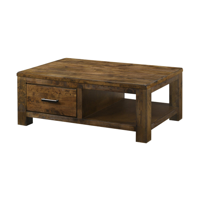 Leaton 1-Drawer Coffee Table Rustic Golden Brown