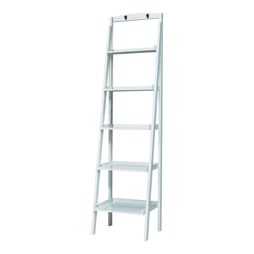 5-Tier Ladder Bookcase White