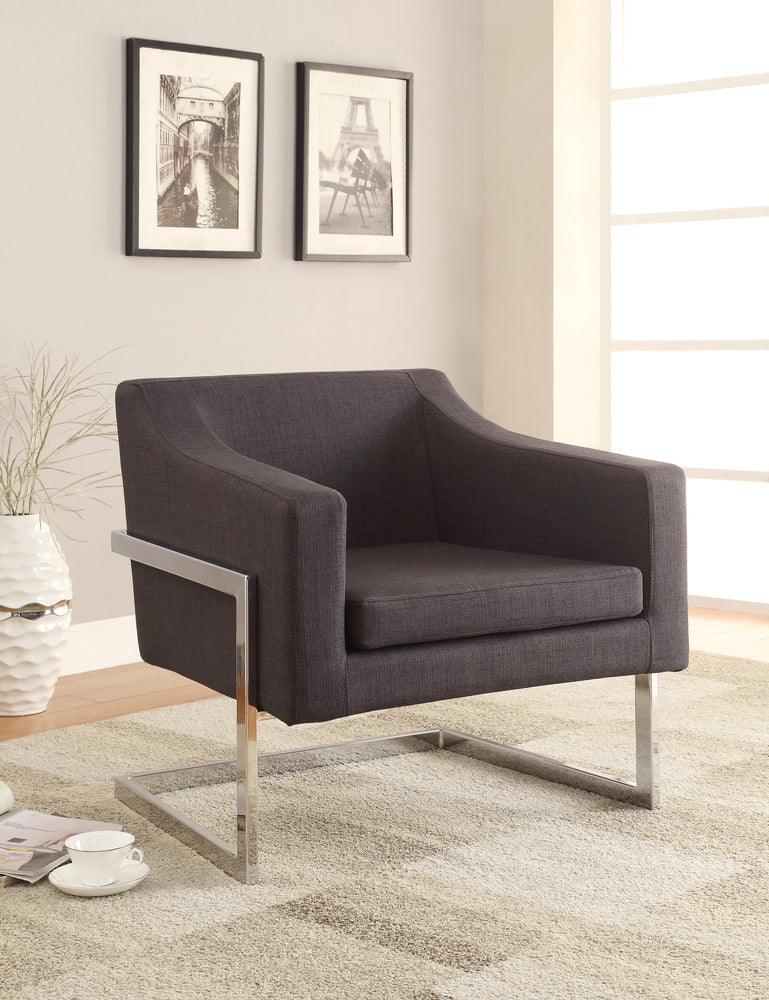 Upholstered Accent Chair Chrome And Grey