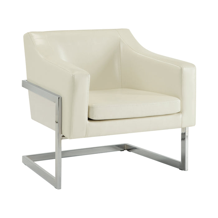 Upholstered Accent Chair White And Chrome