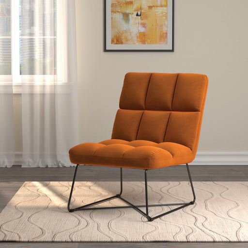 Armless Upholstered Accent Chair Burnt Orange