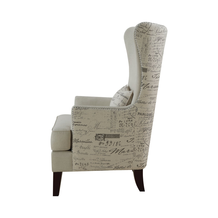 Curved Arm High Back Accent Chair Cream