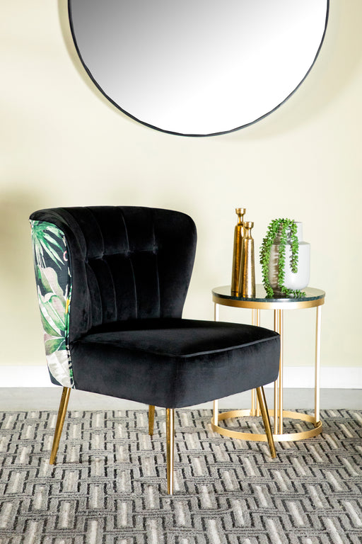 Tufted Upholstered Accent Chair Black