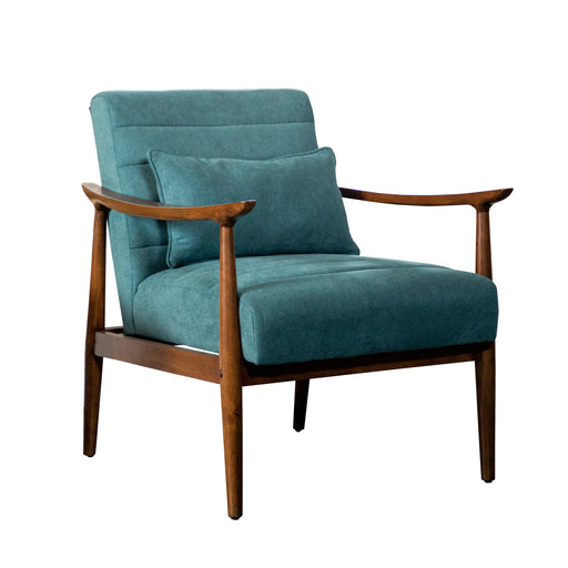 Wooden Arm Accent Chair Teal And Walnut