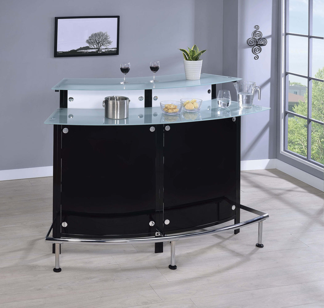 Two-Shelf_Contemporary_Chrome_And_Black_Bar_Unit_1