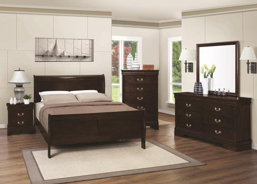 Louis Philippe Cappuccino Twin Sleigh 5-PCS Bedroom Set_1