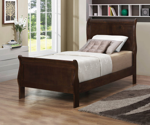 Louis Philippe Cappuccino Twin Sleigh 5-PCS Bedroom Set_2