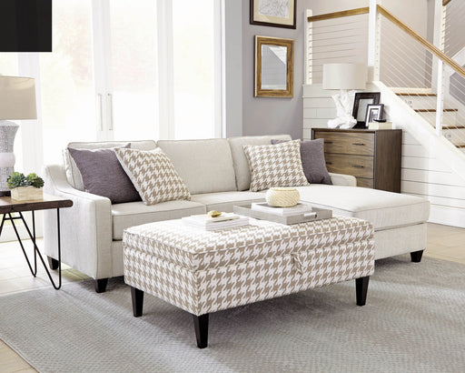 Scott Living Transitional Beige And White Ottoman_1