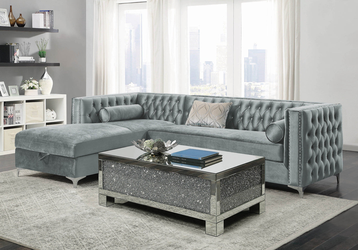 Bellaire_Contemporary_Silver_And_Chrome_Sectional_1