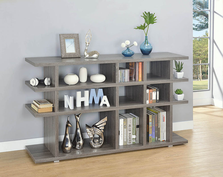 Contemporary Weathered Grey Bookcase_1