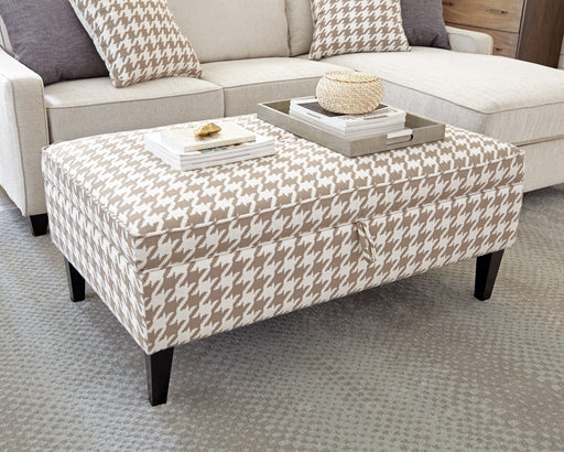 Scott Living Transitional Beige And White Ottoman_2
