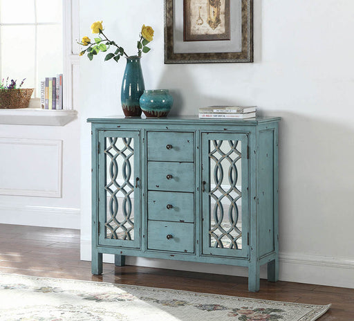 French Country Antique Blue Accent Cabinet_1