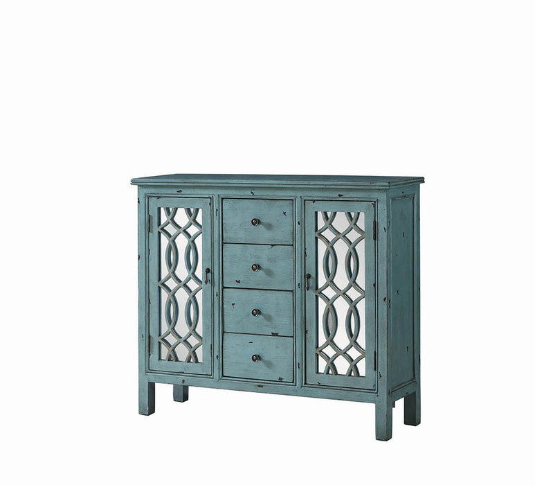 French Country Antique Blue Accent Cabinet_2