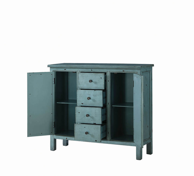 French Country Antique Blue Accent Cabinet_3