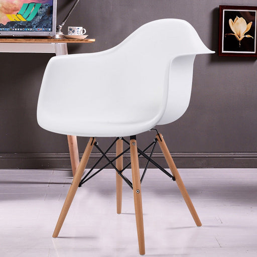 Queen Accent Chairs w/ Wood Legs - Set of 2 - White_1