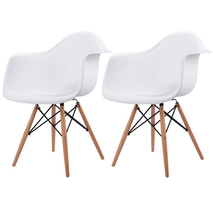 Queen Accent Chairs w/ Wood Legs - Set of 2 - White_2