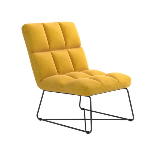 Armless Upholstered Accent Chair Yellow