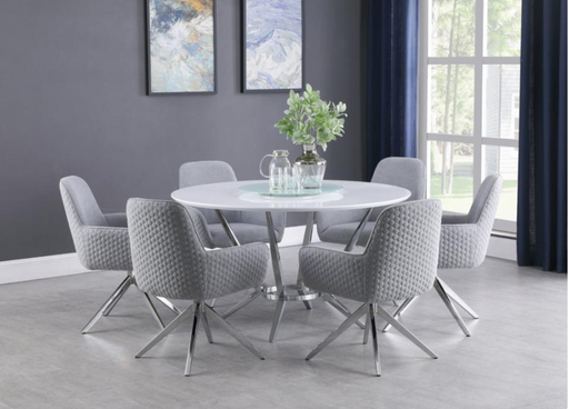Abby 5-Piece Dining Set White And Light Grey