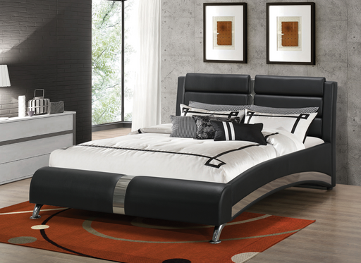 Jeremaine Eastern King Upholstered Bed Black Collection: Jeremaine