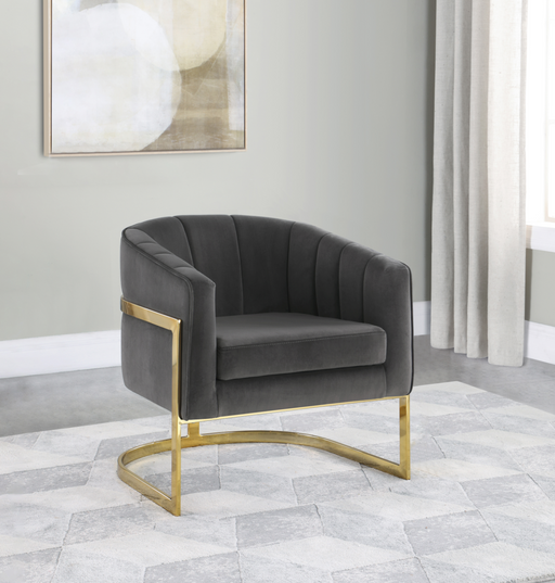 Tufted Barrel Accent Chair Dark Grey And Gold