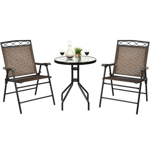 3Pcs Patio Pub Dining Set Outdoor Garden Furniture Set Coffee Table Set with Removable Umbrella Cutout